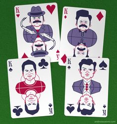 Parks and Recreation Playing Cards by Andrea Austoni, via Behance