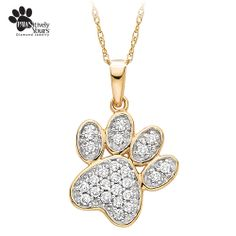 This whimsical fashion pendant features 1/4 ct. tw. round shaped Diamonds set in a beautiful 10K yellow gold paw design. This pendant is a great way to show off the love you have for your four-legged extended family members. A portion of the proceeds from the sale of this item will be donated to The Humane Society of the United States.