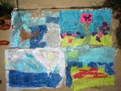 Making under the sea tissue paper pictures on cling film.