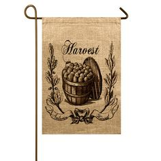 Crafted from rustic burlap, this charming garden flag welcomes your seasonal guests in classic style. Product: Garden flag