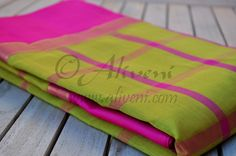 SALE Mustard Yellow Kuppadam Saree with Pink checks and Pink Borders - Aliveni  - 3