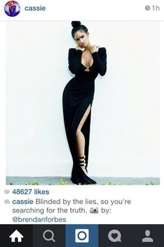 dress black dress cassie ventura style slit dress