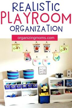 Playroom organization and toy storage ideas that are realistic and easy to implement. Great toy storage and organization ideas for different developmental milestones. #playrooms #playroomorganization #toystorage #organizing #organizationideas #organizingmoms#organizingwithkids