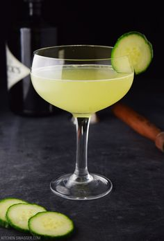 The cucumber gin and elderflower martini recipe is made with gin, elderflower liqueur, fresh lemon juice and fresh muddled cucumbers.