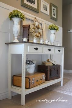 Entryway idea: White vintage   3 drawers - keys, glasses, etc Table top for extras / mail Bottom shelf for baskets, etc Room beneath for shoes