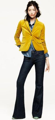 JCrew.  Now I'm totally jonesin' for a goldenrod velvet blazer...
