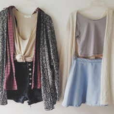 cute outfits outfit idea tie-front top skater skirt denim shorts black shorts red shirt grey cardigan striped t-shirt cropped t-shirt soft grunge