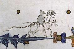 Ladyhawke or rat falconer Pontifical of Guillaume Durand, Avignon, before 1390. Paris, Bibliothèque Sainte-Geneviève, ms. 143, fol. 76v
