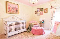 Traditional Nursery with Crown molding, interior wallpaper, Chandelier, Carpet