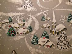 Vintage 1950's Christmas Wrapping Paper Silvery Town