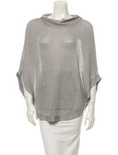 Grey open knit Brunello Cucinelli poncho with cowl neck, pouch pocket at front and sequined embellishments throughout.