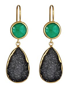 2 Stone Drops Green Onyx & Black Druzy