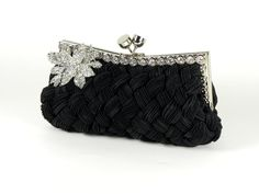 Black Evening Bag Clutch Purse with Crystal Flower Accent