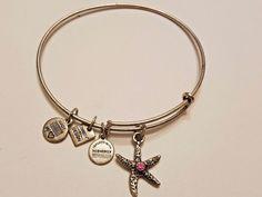Alex & Ani Energy silver tone Starfish pink rhinestone Bracelet Bangle…