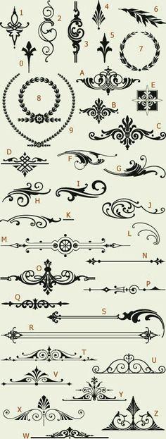 Really cool ideas for easy tattoos white Ink Letterhead Fonts / LHF Americana Ornaments / Golden Era Studios Henna Designs, Tattoo Designs, Tattoo Ideas, Stencils, Doodles, Grafik Design, Arabesque, Design Elements, Design Art