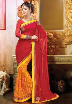 An alluring Red & Yellow Color Crepe-Georgette Designer Saree embellished with stone work, zari and resham embroidery