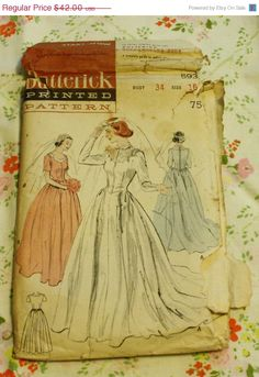 25%SewIntoSummerSale Butterick 5932 1950s 50s by EleanorMeriwether