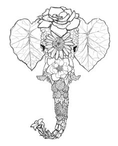 ☮ American Hippie Art ~ Coloring Pages .. Psychedelic Elephant