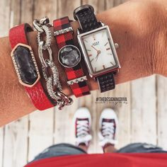KEEP-Collective: Perf black, silver tank time key, limited edition buffalo plaid leather, silver pyramid bar, round wishing stone, red pebbled leather, larkivite geo stone.