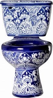 Blue & White Mexican Talavera Porcelain Toilet