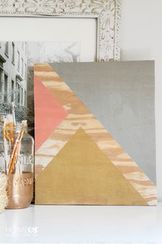 - 5 Easy DIY Wall Art Hacks Using Tape What an easy and clever piece of artwork! Plywood, painters tape, and paint! Wood Artwork, Diy Artwork, Diy Wall Art, Diy Wall Decor, Wood Wall Art, Diy Wand, Easy Woodworking Projects, Diy Wood Projects, Art Projects