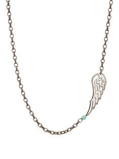 "London Jewelers Sterling Silver Angel Wing Necklace with Turquoise. Sterling Silver Chain with a Single Angle Wing and Turquoise Bead. Necklace Measures 16"".  $200"
