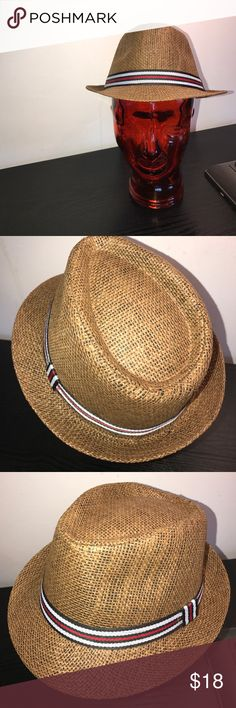 "BNWOT RIBBON WOVEN FEDORA APPROX 7"" diameter - One size fits most - lightweight - I DO NOT TRADE price firm unless bundled this listing is for the brown with stripe ribbon other colors available in closet BOUTIQUE Accessories Hats"