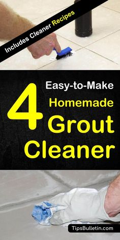 DIY homemade grout cleaner recipes for a scrub and no scrub cleaning of tiles and grouts. Including recipes for shower, floor and other bathroom grout cleaning with natural ingredients e.g. hydrogen peroxide or baking soda.#grout #groutcleaner #diy #homemade #natural