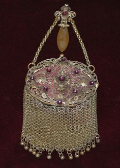 Antique Jeweled Purple Chatelaine Mesh Coin Purse