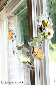 So many nature ideas. The contact paper garland with hemp string is easy and cute. Worth a look.