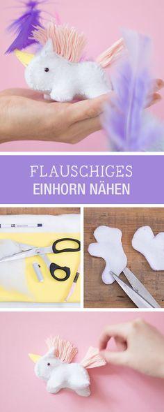 DIY-Anleitung: Magisches Einhorn als flauschigen Anhänger nähen / DIY tutorial: sewing magical unicorn as fluffy pendant via DaWanda.com