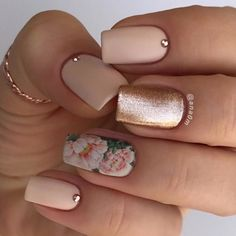Floral Water decal nail with Rose Gold
