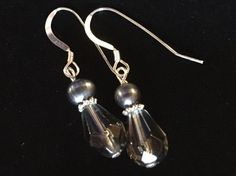 Grey Glass and Freshwater Pearl Earrings