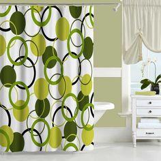 Avocado green shower curtain. Artistic bathroom decor. #bathroom #bathroomdecor…