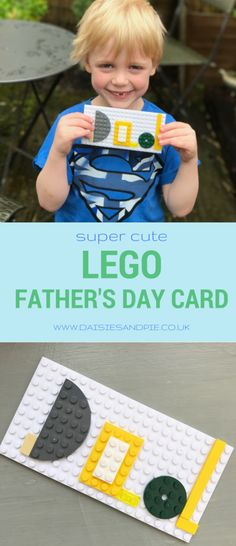 How to make a LEGO father's day card! This super cute LEGO project is one kids will love as much as their dad! We love this homemade father's day card, think it's our favourite one yet! Homemade Fathers Day Card, Fathers Day Crafts, Homemade Gifts, Diy Gifts, Father's Day Activities, Craft Activities For Kids, Preschool Crafts, Crafts For Kids, Spring Activities