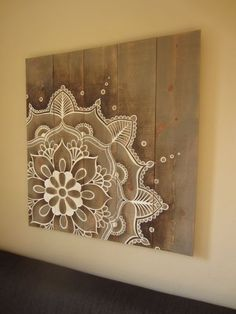 Mandala artwork on rustic wood original hand painted. Size: 37 x 39 inch x 99 cm) Mandala artwork on rustic wood original hand painted. Size: 37 x 39 inch x 99 cm) Diy Wall Art, Wood Wall Art, Diy Art, Arte Pallet, Pallet Art, Diy Pallet, Pallet Wood, Mandala Artwork, Mandala Painting