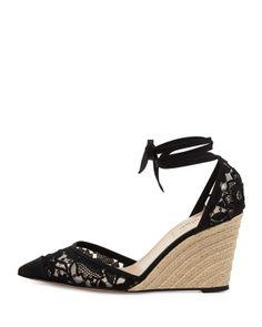 Valentino Lace Point-Toe Espadrille Wedge Pump, Black - Neiman Marcus