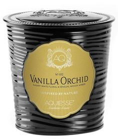 Aquiesse Vanilla Orchid Large Tin Soy Candle 11 oz | Abode and Company. The Aquiesse Portfolio Candle Tin Collection uses a soy wax blend and is made with organic soybean oil and carefully selected lead-free wicks. Inspired by nature. Relax, breathe, dream and enjoy life!     Tin candles include the same amount of wax as the large portfolio glass candles! Includes matchbook in the lid for a perfect match.