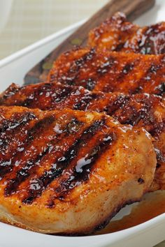 Skinny Grilled Brown Sugar Pork Chops Recipe with Apple Juice, Soy Sauce, and Ground Ginger - Gluten Free