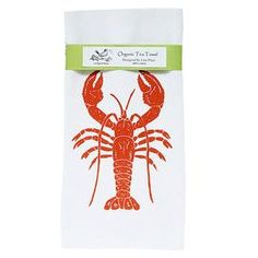 "Bring coastal-chic appeal to your kitchen with this eye-catching tea towel, featuring a hand-printed lobster motif in red and white. Product: Tea towel    Construction Material: Organic cotton    Color: Red and white     Features: 100% certified organic cotton tea towelCustom made exclusively for Artgoodies   Original hand carved linocut block print design by artist Lisa Price  Hand-printed in Grand Rapids, MI    Dimensions: 20"" x 28""   Cleaning and Care: Machine wash cold, tumble dry low…"