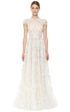 Avorio Multi Tulle Illusione Gown by Valentino for Preorder on Moda Operandi