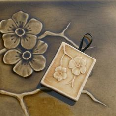 Cherry blossoms on a branch -small handmade tile ornament - goldenrod glossy crackle