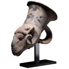 Ancient Greek Red Figure Campanian Ram Head Rhyton Vessel, 350 BC   1stdibs.com