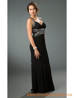 Fabulous Sequined Black Chiffon Sexy Evening Dresses 2013