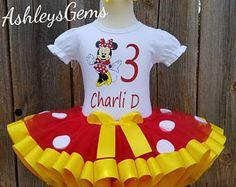 Traje de cumpleaños de Minnie Mouse, Minnie Mouse vestido, Tutu de Minnie Mouse, rojo Tutu de Minnie, Minnie Dress, cinta roja y amarilla Tutu, Tutu de Minnie