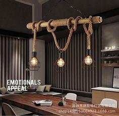 WEILON US Amerikanischer Country Wohnzimmer Edison Altmodischer Industrielle Kronleuchter Seil Gewebt Bambus Restaurant Retro