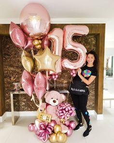 Diy Birthday, Birthday Parties, Happy Birthday, 15th Birthday Party Ideas, Bear Birthday, Birthday Balloon Decorations, Birthday Balloons, Balloon Gift, Balloon Garland