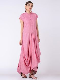 Buy MAYORI Pink Cotton Slub Cowl Dress with Pocket online in India at best price. Western Dresses, Cowl, Cold Shoulder Dress, Pocket, Kurtis, Womens Fashion, Casual, Pink, Cotton