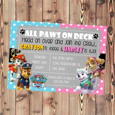 Paw Patrol Invite - Boy and Girl - Sibling or Twin Invite - Printable File by CreativeKittle on Etsy