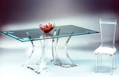 Furniture: Modern Acrylic Desk For Home Office Design With Acrylic Chair Provide An Elegant Work Space: Acrylic Lucite Desks for a Clearly Incredible Work Space Acrylic Chair, Acrylic Furniture, Acrylic Table, Dining Room Furniture Design, Lucite Furniture, Table Furniture, Glass Dining Table, Dining Table Chairs, Desk Chairs